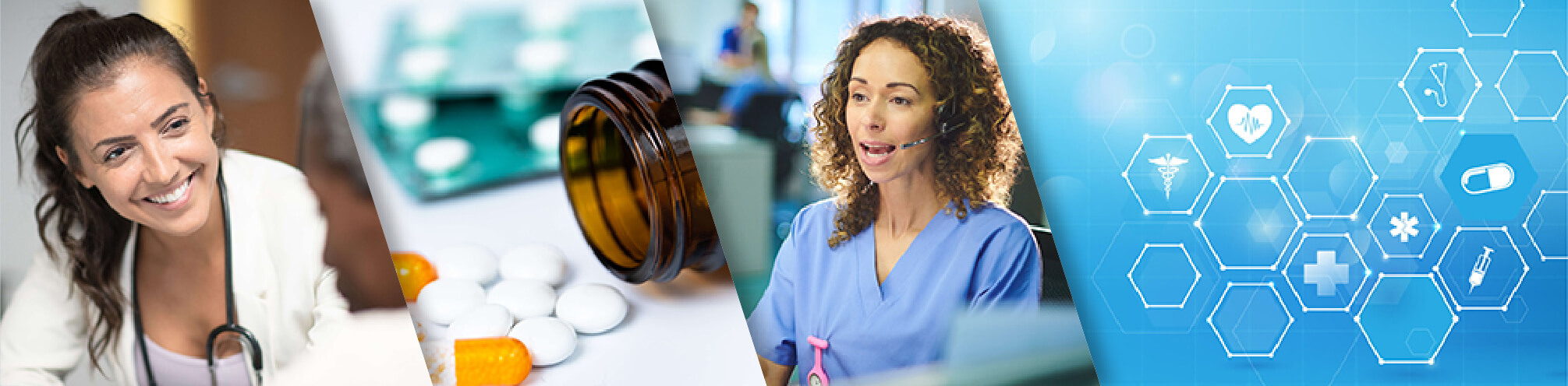 collage of images including female doctor with patient, bottle of medicine with pills, female medical professional at computer, and an abstract image of hexagons and medical symbols.
