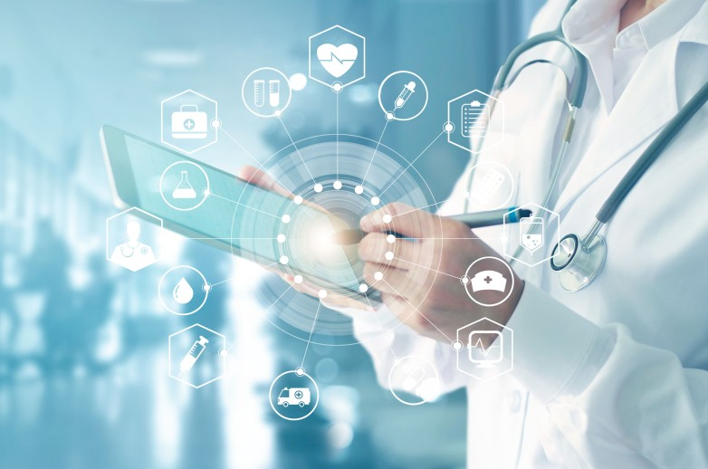 Abstract image of a doctor with a tablet and medical/health related items